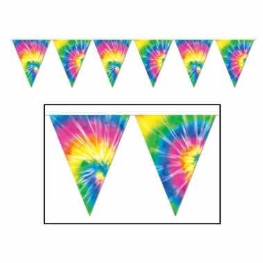 2x stuks tie dyed hippie vlaggenlijnen 3 meter