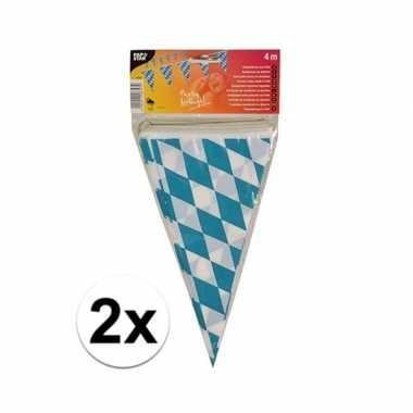 2x stuks vlaggetjes van oktoberfest bayern van 4 meter