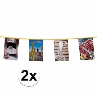 2x stuks western vlaggenlijnen van 10 meter p st