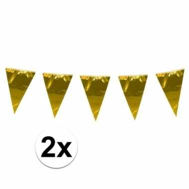 2x stuks xxl goudkleurige slingers 10 meter