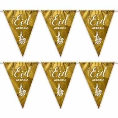 2x suikerfeest/offerfeest versiering metallic vlaggenlijn goud 6 mete