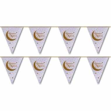 2x suikerfeest/offerfeest versiering metallic vlaggenlijn wit/goud 6