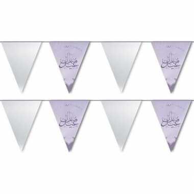 2x suikerfeest/offerfeest versiering metallic vlaggenlijn zilver 6 me