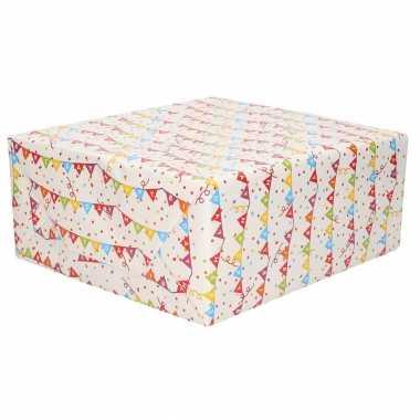 2x verjaardagscadeau inpakpapier vlaggenlijn happy birthday 70 x 200 cm op rol