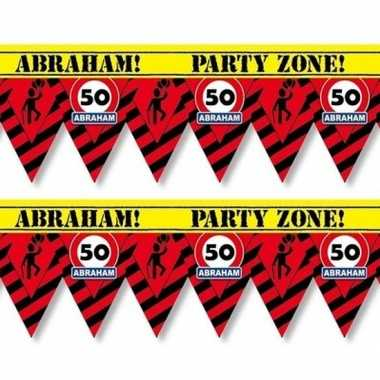 2x versiering/decoratie 50 abraham afzetlint vlaggetjes 12 meter