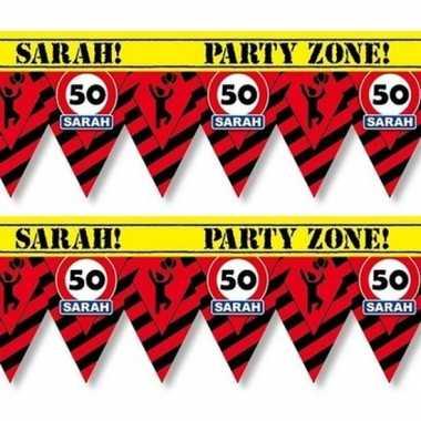 2x versiering/decoratie 50 sarah afzetlint vlaggetjes 12 meter