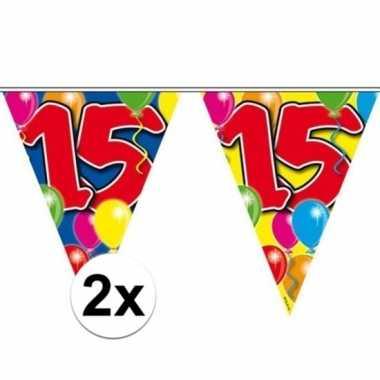 2x vlaggenlijn 15 jaar 10 meter