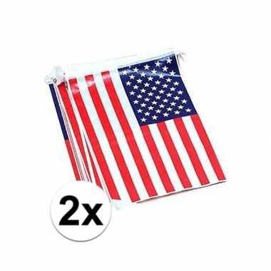 2x vlaggenlijn met amerikaanse vlag