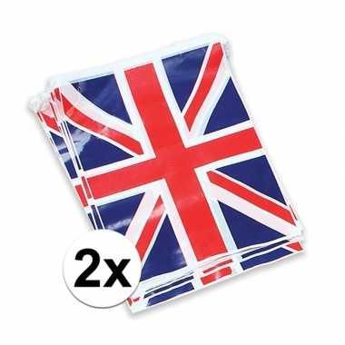 2x vlaggenlijn met de engelse vlag