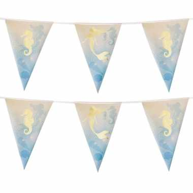 2x zeemeermin/oceaan themafeest folie vlaggenlijnen goud 4 meter