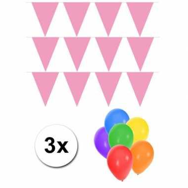 3 baby roze vlaggenlijnen groot incl ballonnen