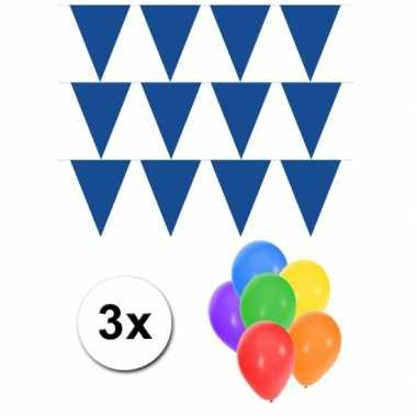 3 blauwe vlaggenlijnen groot incl ballonnen