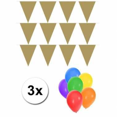 3 gouden vlaggenlijnen groot incl ballonnen