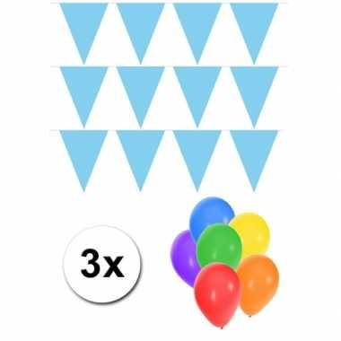 3 lichtblauwe vlaggenlijnen groot incl ballonnen