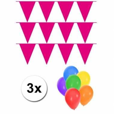 3 magenta roze vlaggenlijnen groot incl ballonnen