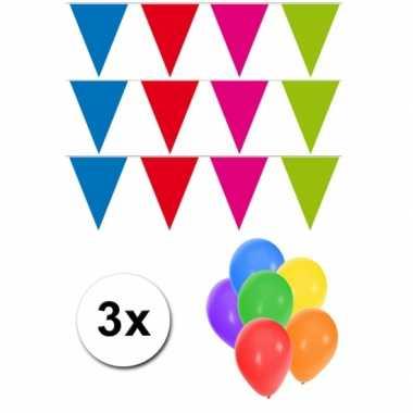 3 meerkleurige vlaggenlijnen groot incl ballonnen
