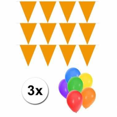 3 oranje vlaggenlijnen groot incl ballonnen
