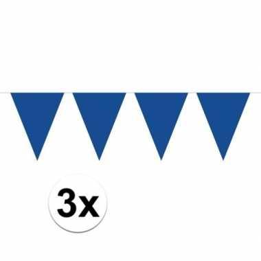 3 stuks blauwe vlaggenlijnen groot 10 meter