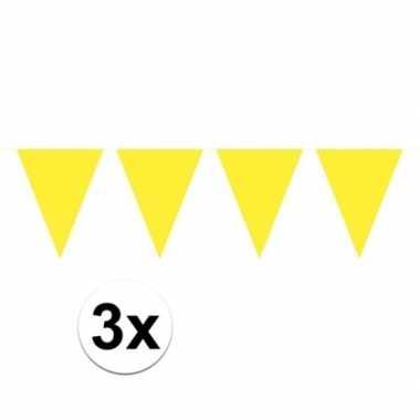 3 stuks gele vlaggenlijnen groot 10 meter