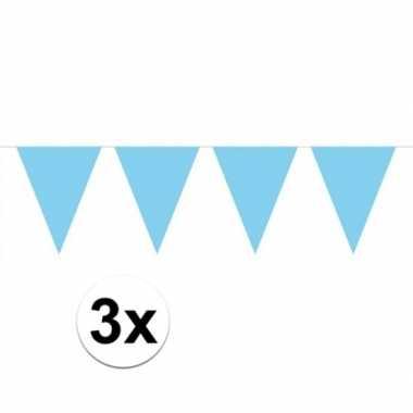 3 stuks lichtblauwe vlaggenlijnen groot 10 meter