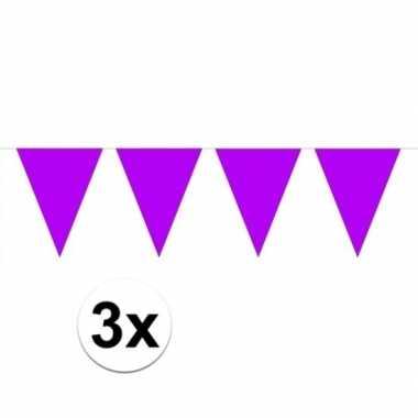 3 stuks paarse vlaggenlijnen groot 10 meter