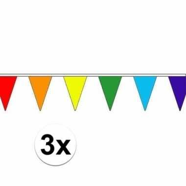 3 stuks regenboog slinger met puntvlaggetjes 5 meter