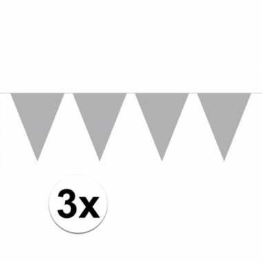 3 stuks zilveren vlaggenlijnen groot 10 meter