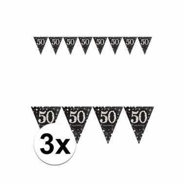 3 stuks zwarte vlaggenlijn 50e jubileum