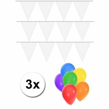 3 witte vlaggenlijnen groot incl ballonnen