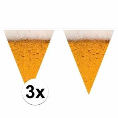 3 x bierfeest versiering vlaggenlijnen 6,4 meter pils print pakket