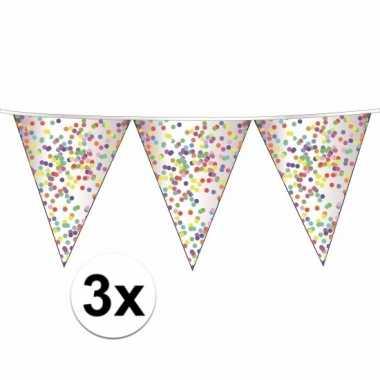 3 x confetti vlaggenlijn slingers 10 meter