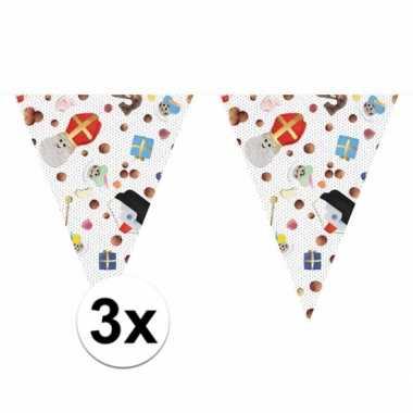 3 x sinterklaas versiering vlaggenlijn 10 m snoepgoed print set