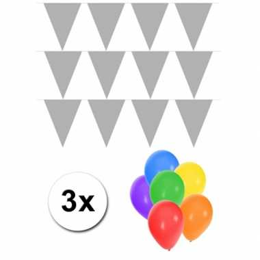 3 zilveren vlaggenlijnen groot incl ballonnen