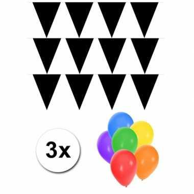 3 zwarte vlaggenlijnen groot incl ballonnen