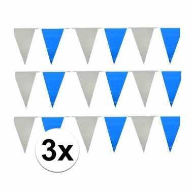 30 meter lichtblauw witte vlaggenlijnen