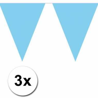 3x 10 meter vlaggenlijn baby blauw