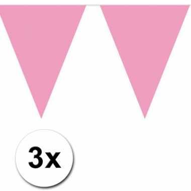 3x 10 meter vlaggenlijn baby pink