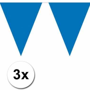 3x 10 meter vlaggenlijn blauw