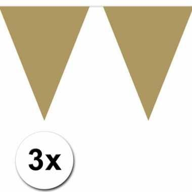3x 10 meter vlaggenlijn goud