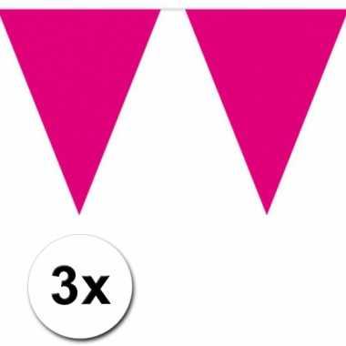 3x 10 meter vlaggenlijn magenta roze