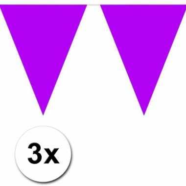 3x 10 meter vlaggenlijn paars