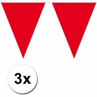 3x 10 meter vlaggenlijn rood