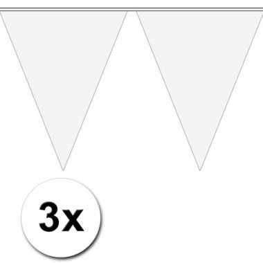 3x 10 meter vlaggenlijn wit