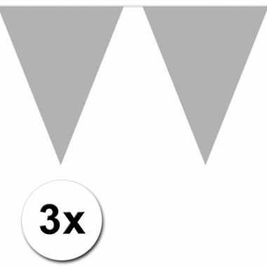 3x 10 meter vlaggenlijn zilver