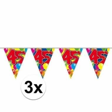 3x 45 verjaardag slingers 10 meter