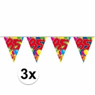 3x 85 verjaardag slingers 10 meter 10 meter