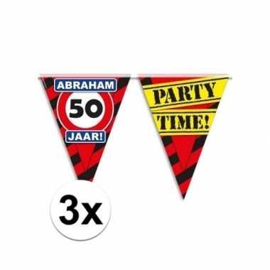 3x abraham 50 jaar feest slingers 10 meter