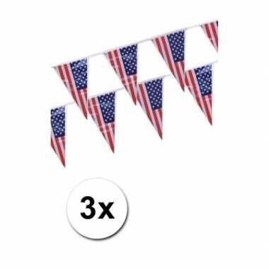 3x Amerika vlaggenlijn punt