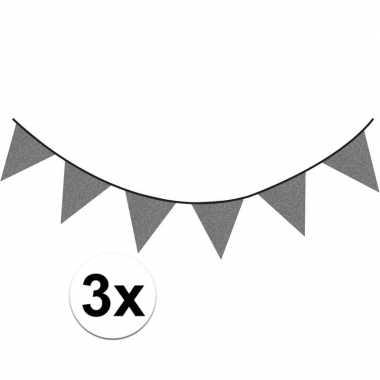 3x antraciet vlaggenlijnen met glitters 6 meter