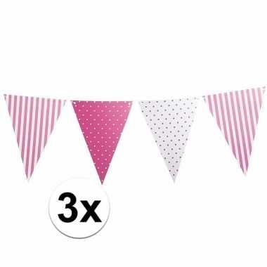 3x babyshower versiering slingers roze